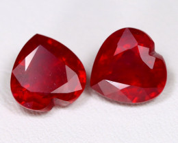 Red Ruby 7.37Ct 2Pcs Heart Cut Pigeon Blood Red Ruby B2312
