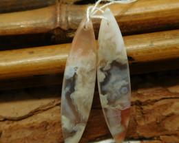 Sakura agate pendant set pair (G2259)
