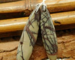 Natural picasso jasper earring bead (G2264)