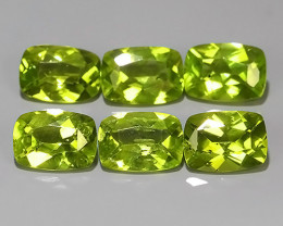 5.65 Cts.Magnificient Top Sparkling Intense Green-Peridot~Cushion 6.0 MM~ N