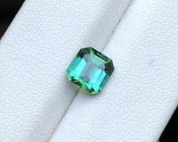 HGTL CERTIFIED 1.55 Ct Natural Greenish Blue Transparent Tourmaline Ring Si