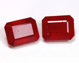 Red Ruby 7.61Ct 2Pcs Octagon Cut Pigeon Blood Red Ruby C2405