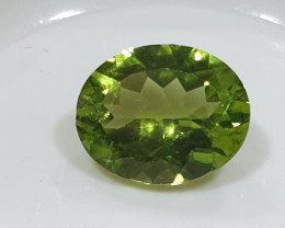 2.60 Ct Peridot  Faceted Oval  10x8mm.- Olivine Green.(SKU445)