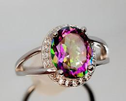 17Crt Mystic Quartz Silver Ring 8 Natural Gemstones JI12