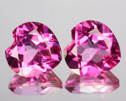 ~LOVELY~ 6.65 Cts Candy Pink Natural Topaz 9mm Heart Cut 2Pcs Brazil