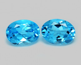 3.15 Carat 2Pcs Blue Natural Topaz Gemstones