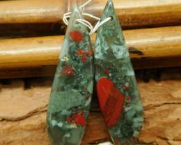 African bloodstone earring bead (G2331)