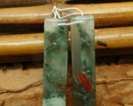 Natural african bloodstone earring bead (G2340)
