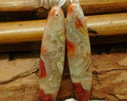Crazy rosetta agate earring bead (G2341)
