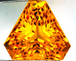 ~CUSTOM CUT~ 33.75 Cts Natural Golden Orange Citrine Fancy Trillion Brazil