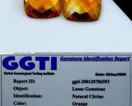 NR!!! 3.95 GGTI-Certified- Orange Citrine Faceted Cut Stone Pair
