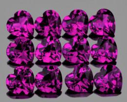 4.00 mm Heart 12 pcs 3.74cts Purple Rhodolite Garnet [VVS]