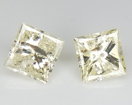 0.30 CTS , Princess Diamond Pairs , Natural Yellow Diamond