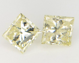 2 PC/0.30 cts , Yellow Princess diamond Pairs  , Natural Colored Diamonds
