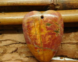 Heart shape red picasso jasper pendant (G2358)