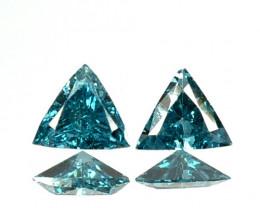 Fabulous!!!  0.12 Cts Natural Diamond Greenish Blue 2Pcs Trillion 2.60mm  A