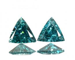 Dazzling!!!  0.23 Cts Natural Diamond Greenish Blue 4Pcs Trillion 3mm  Afri