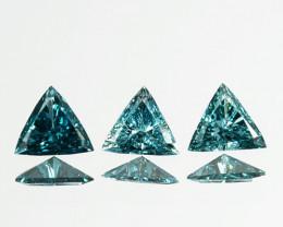 Fabulous!!!  0.19 Cts Natural Diamond Greenish Blue 3Pcs Trillion 3mm Afric