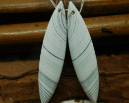 White lace agate earring bead (G2376)
