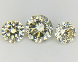 3 PC/0.36 CT , Light Color Diamond Pairs , Natural Round Brilliant Diamonds