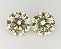 0.73 CT , Round Brilliant Diamond  , Light Colored Diamond pairs
