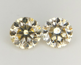 2 pcs/0.30 cts , Natural Round Diamonds , Yellow Color Diamonds