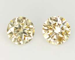 2/0.17 CT , Round Brilliant Cut Diamond , Natural Diamond Pair