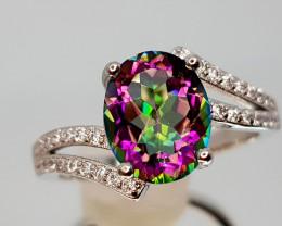 16Crt Mystic Quartz Silver Ring 8 Natural Gemstones JI13