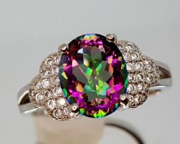 17Crt Mystic Quartz Silver Ring 8 Natural Gemstones JI13