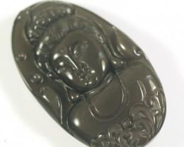 Natural Obsidian Guan Yin Bodhisattva  Carving Pendant
