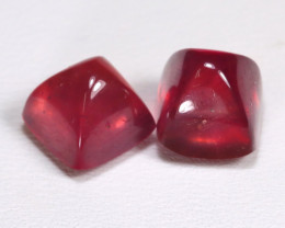 Red Ruby 8.71Ct 2Pcs Sugar Loaf Cut Pigeon Blood Red Ruby B2801