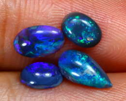 1.05Ct 4Pcs Natural Australian Lightning Ridge Black Opal Lot B2803