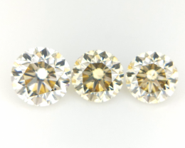 0.67 CT , Round Brilliant Cut Diamonds , Natural Yellow Color 3 pcs