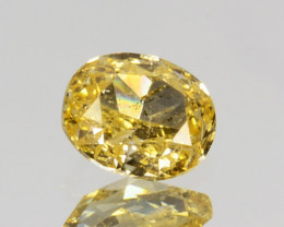 ~UNTREATED~ 0.13 Cts Natural Diamond Fancy Yellow Oval Cut Africa