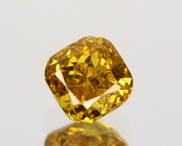 ~UNTREATED~ 0.17 Cts Natural Diamond Fancy Yellow Cushion Cut Africa
