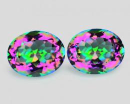 Mystic Quartz 4.75 Cts 2pcs Fancy Aurora Borealis Color Natural