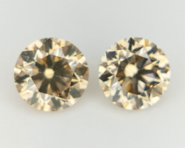 2/0.39 CT , Round Natural Diamonds , Fancy Color