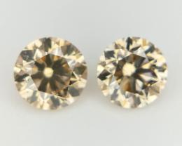 2/0.39 CT , Round Natural Diamonds , Fancy Color