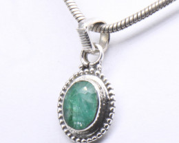 EMERALD PENDANT 925 STERLING SILVER NATURAL GEMSTONE JP3