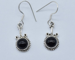 BLACK ONYX EARRINGS 925 STERLING SILVER NATURAL GEMSTONE JE4