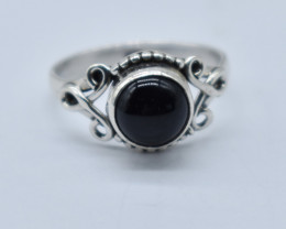 BLACK ONYX RING 925 STERLING SILVER NATURAL GEMSTONE JR834