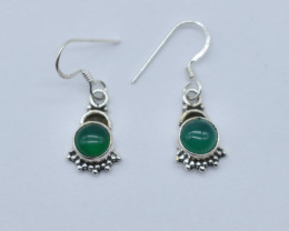 GREEN ONYX EARRINGS 925 STERLING SILVER NATURAL GEMSTONE JE7
