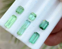 6.40 Ct Natural Green  Transparent Tourmaline Gems Parcels