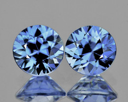 4.00 mm Round 2 pcs 0.57cts Blue Sapphire [VVS]