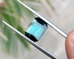 3.20 Ct Natural Dark Blue Transparent Ring Size Tourmaline Gemstone
