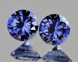 3.80 mm Round 2 pcs 0.50ct Blue Sapphire [VVS]