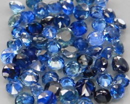 5.47Ct. /60Pcs Round Diamond Cut 2.2-3mm. Natural Blue Sapphire Madagascar