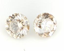 0.37 cts , Round Brilliant Cut , Brown Colour Diamonds , 2pcs