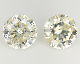 0.693 cts , Round Brilliant Cut , Yellow Colour Diaomnd , 2pcs