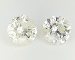 0.775 cts , Round Brilliant Cut , Yellow Tinted Diamond , 2 pcs